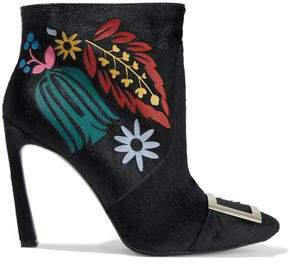 Roger Vivier Trompette Embellished Cutout Calf Hair Ankle Boots