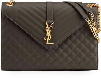 Saint Laurent Monogram V-Flap Large Tri-Quilt Envelope Chain Shoulder Bag - Golden Hardware