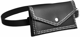 Silver Urbanism Women's Fashion Rivet Waist Bag Buckle Belt (Black)