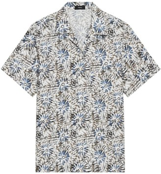 Theory Irving Relax-Fit Sketched Floral Short-Sleeve Shirt