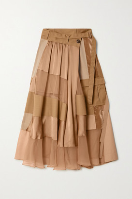 Sacai Paneled Asymmetric Satin, Velvet, Twill And Chiffon Wrap Maxi Skirt