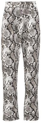 ATTICO High-rise Snake-print Cropped Jeans - Black White