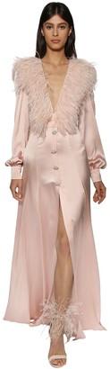 RALPH & RUSSO Silk Maxi Dress W/ Feathers