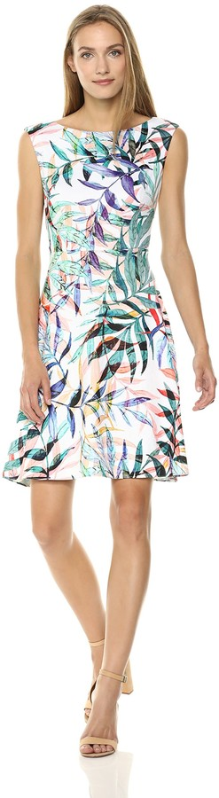 Adrianna Papell Women's Watercolor Leaves Printed FIT and Flare Dress