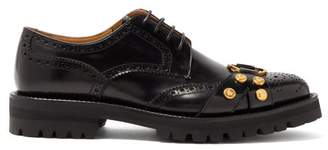 Versace Medusa Raised Sole Leather Brogues - Mens - Black Multi