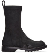 Rick Owens Black Suede Creeper Boots
