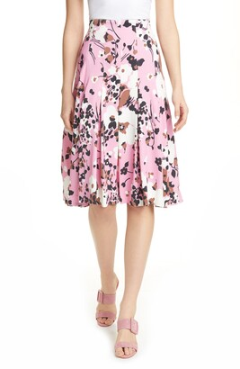 Veronica Beard Sania Floral Print Pleated Skirt