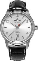 Alpina Al-525s4e6 Alpiner Automatic Leather Strap Watch, Black/silver