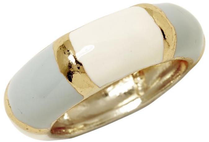 Pim + Larkin Grey and White Enamel Ring