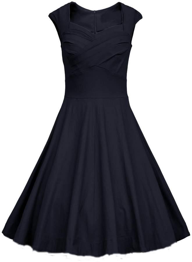 Tecrio Women Vintage 1950s Capshoulder Deep-V Cocktail Party Swing Dress L