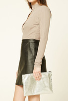 Forever 21 FOREVER 21+ Metallic Faux Leather Clutch