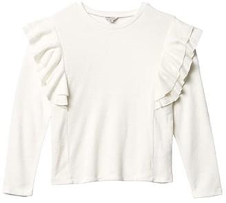 Habitual Hatchi Ruffle Knit Top (Big Kids) (Oatmeal) Girl's Clothing