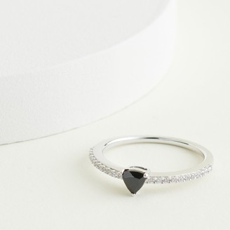 Elizabeth and James Sterling Silver Trillion Cut Lab-Created Black Spinel & 1/6 Carat T.W. Diamond Ring