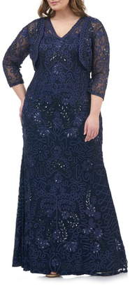 JS Collections Soutache Gown with Bolero