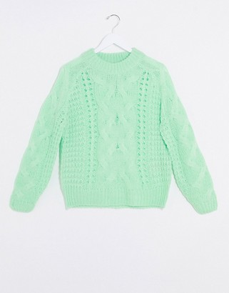 Pieces jyla cable knit jumper in green