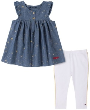 Tommy Hilfiger Little Girls Chambray with Gold-Tone Foil Printed Stars Tunic and Legging, Two Piece Set