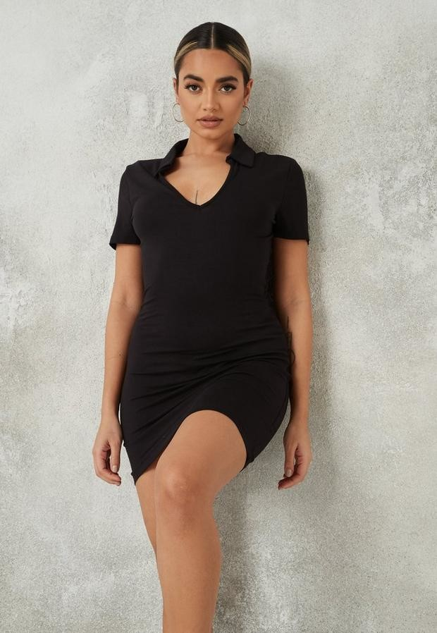 Missguided Black Polo Neck Short Sleeve Mini Dress