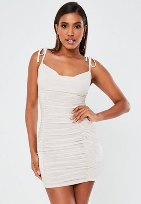 Missguided Stone Slinky Tie Shoulder Ruched Mini Dress