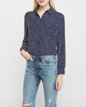 Express Printed Cinched Tie Waist Shirt