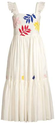 Carolina K. Nika Ruffled Embroidery Apron Maxi Dress
