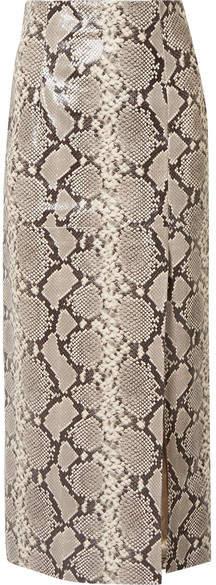 ATTICO Snake-effect Leather Midi Skirt - Snake print