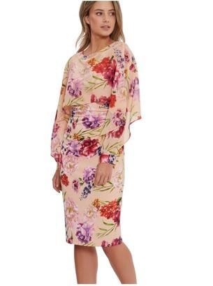 Gina Bacconi Marlana Printed Dress And Chiffon Cape