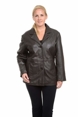 Excelled Leather Excelled Women's Plus Size Leather Button Front Hipster