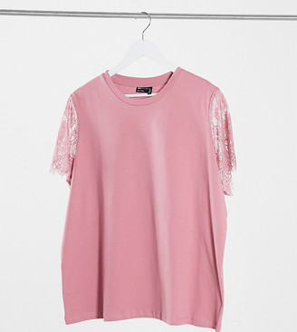 ASOS DESIGN Curve T-shirt with lace sleeve detail in dusty pink