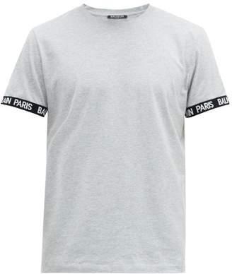 Balmain Logo Cuff Cotton Jersey T Shirt - Mens - Grey