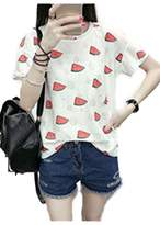 Mupoduvos Women's Summer Watermelon Short Sleeve Round Collar T-Shirt Top