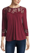 Almost Famous Long Sleeve Solid Peasant Top Juniors