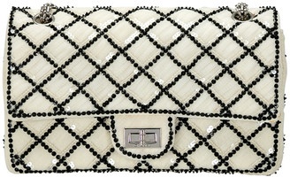 Chanel White/Black Sequinned Mesh Limited Edition 2.55 Reissue Flap Bag