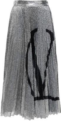 Valentino Go Logo Pleated Sequined Midi Skirt