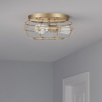 """Breakwater Bay Sievers 3 - Light 15"""" Caged Dome Flush Mount Fixture Finish: Antique Brass, Shade Color: Antique Brass"""