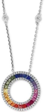 """Effy Multi-Sapphire (1-5/8 ct. t.w.) & Diamond (3/8 ct. t.w.) 18"""" Pendant Necklace in 14k White Gold"""