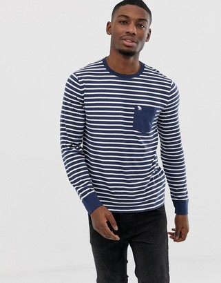 Abercrombie & Fitch stripe icon logo pocket long sleeve top in navy/white