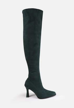 Missguided Green Faux Suede Feature Heel Over The Knee Boots
