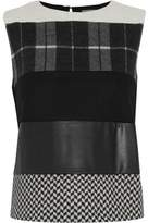 Max Mara Paneled Faux Leather And Printed Virgin Wool Top