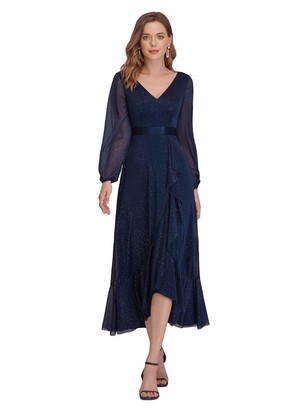 Ever Pretty Ever-Pretty Women's Elegant Glitter V-Neck Long Sleeve with Ruffles Midi Length Formal Dress Navy Blue 16UK