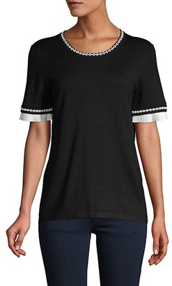 Karl Lagerfeld Paris Ruffle Embroidery-Trim Short-Sleeve Sweater