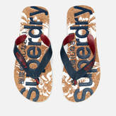 Superdry Men's Printed Cork Flip Flops - Darkest Navy/Optic Hibiscus