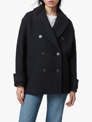 AllSaints Reagon Wool Pea Coat, Ink Blue