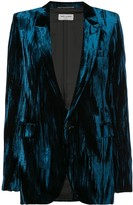 Saint Laurent crinkled velvet one-button blazer