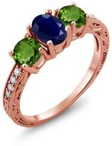 Gem Stone King 2.14 Ct Oval Blue Sapphire Green Chrome Diopside 14K Rose Gold Ring