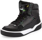 Puma Brace Mid-Top Leather-Trim Sneaker, Black/Flame/Scarlet