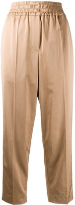 Brunello Cucinelli Cropped Ruched Waistband Trousers
