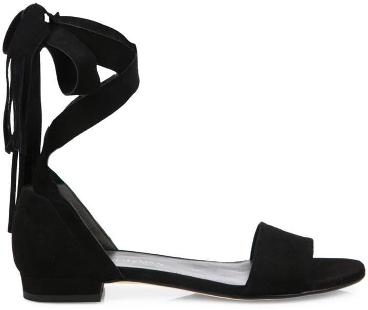 Stuart Weitzman Corbata Suede Lace Sandals