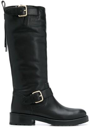 Red(V) Bikered calf-length boots