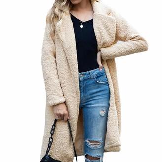 NKJGFV Autumn Long Winter Coat Woman Faux Fur Coat Warm Ladies Fur Teddy Jacket Plush Teddy Coat Plus Size Outwear 1 Khaki L