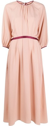 Ports 1961 Rear-Bow Puff-Sleeve Dress